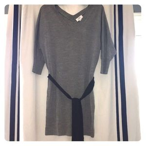 Ann Taylor Loft Gray Sweater dress with tie belt.